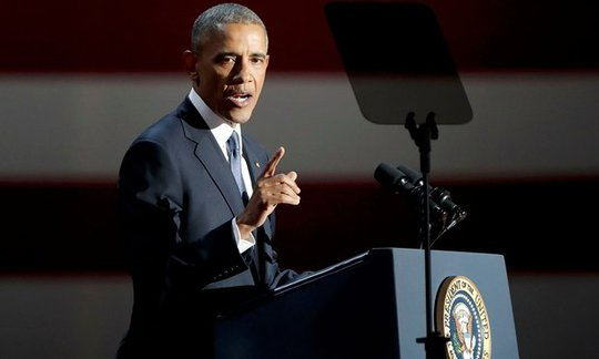 Tổng thống Obama phát biểu chia tay tại TP Chicago. Ảnh: REUTERS