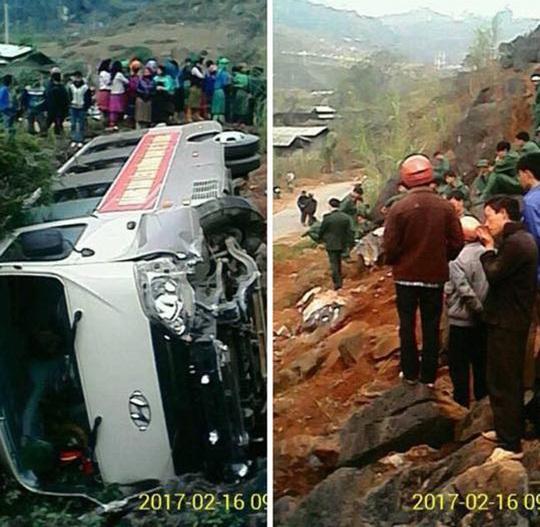 Hiện trường vụ tai nạn xe chở tân binh nhập ngũ bị lật - Ảnh: Facebook