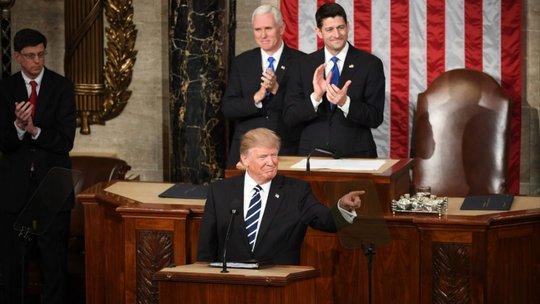 Ông Trump phát biểu tại Quốc hội tối 28-2. Ảnh: THE WASHINGTON POST
