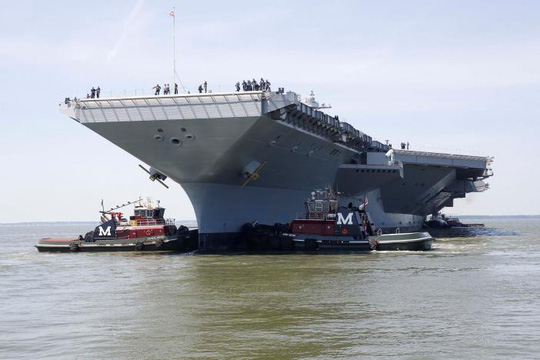 Siêu tàu sân bay USS Gerald R. Ford. Ảnh: REUTERS