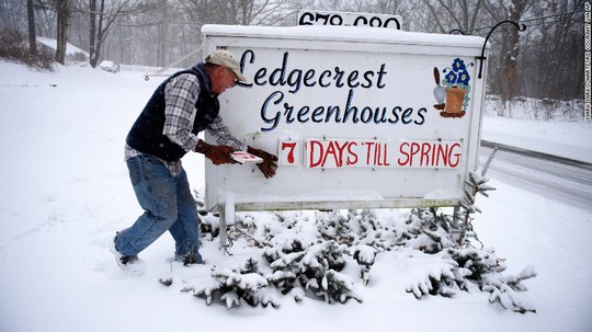 Tuyết phủ trắng ở bang Connecticut hôm 14-3. Ảnh: AP