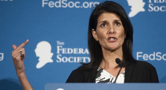 Đại sứ Mỹ tại Liên Hiệp Quốc (LHQ), bà Nikki Haley. Ảnh: AP