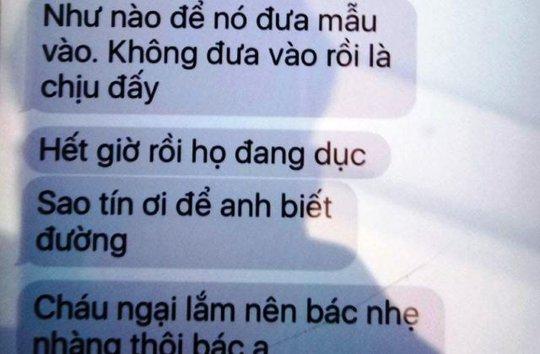 Một đoạn tin nhắn được cho của lái xe Nguyễn Thăng Long nhắn vòi tiền doanh nghiệp