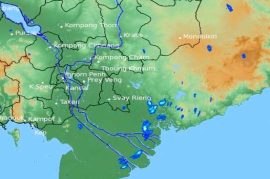 Ảnh chụp vệ tinh lúc 12 giờ ngày 23-4 cho thấy mưa đang hình thành ở Nam Bộ