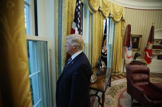 Ông Trump nhìn ra cửa sổ ở Phòng Bầu dục sau cuộc phỏng vấn với Reuters hôm 27-4. Ảnh: REUTERS