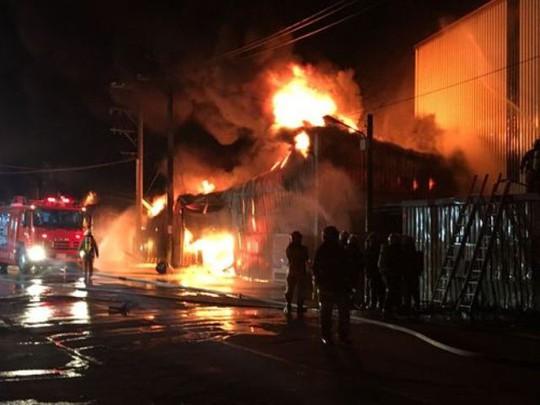 Vụ hỏa hoạn tại quận Luzhu, TP Taoyuan. Ảnh: FOCUS TAIWAN