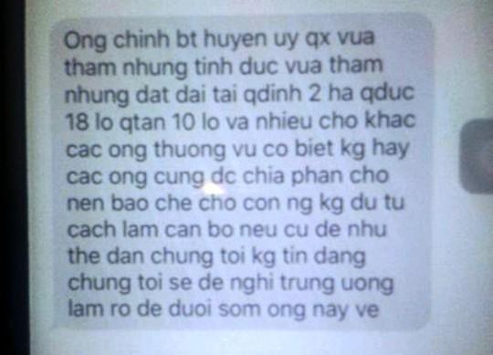 Nội dung tin nhắn được một lãnh đạo huyện Quảng Xương cung cấp cho báo chí của ông Đinh Trọng Tấn nhắn đến số máy có nội dung tố ông Nguyễn Văn Chính tham nhũng nhiều đất đai
