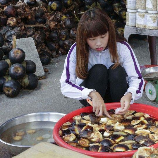 Trái thốt nốt được mua về để tách lấy phần thạch bên trong làm thực phẩm