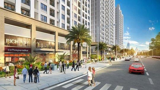 Khu trung tâm thương mại sầm uất ngay bên dưới căn hộ sẽ mang đến cuộc sống tiện nghi cho cư dân RichStar