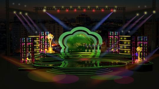 Phối cảnh sân khấu lễ trao giải tại Nhà hát Truyền hình TP HCM