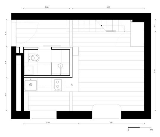 Mặt bằng căn hộ 21 m2