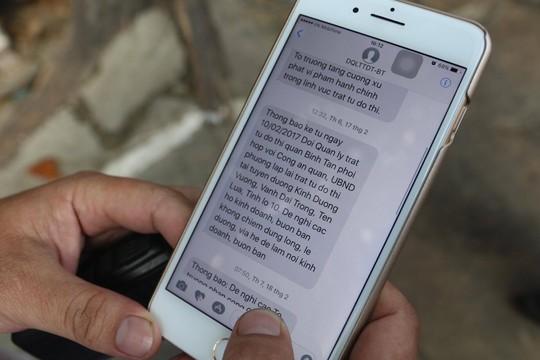 Tổng đài nhắn tin tự động sẽ gửi tin đến các hộ dân và nhắc nhở các trường hợp vi phạm.