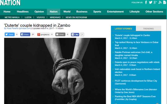 Trang Philstar của Philippines hôm 4-3 đưa tin với tựa đề Cặp đôi Duterte bị bắt cóc ở Zambo khiến nhiều người không khỏi chú ý.