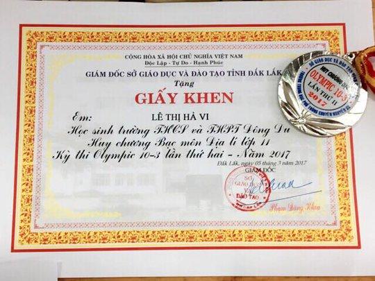 Lê Thị Hà Vi xuất sắc đoạt huy chương bạc môn địa lý