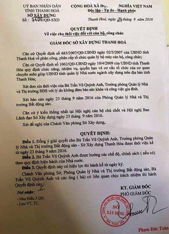 Quyết định cho thôi việc thần tốc đối với bà Trần Vũ Quỳnh Anh