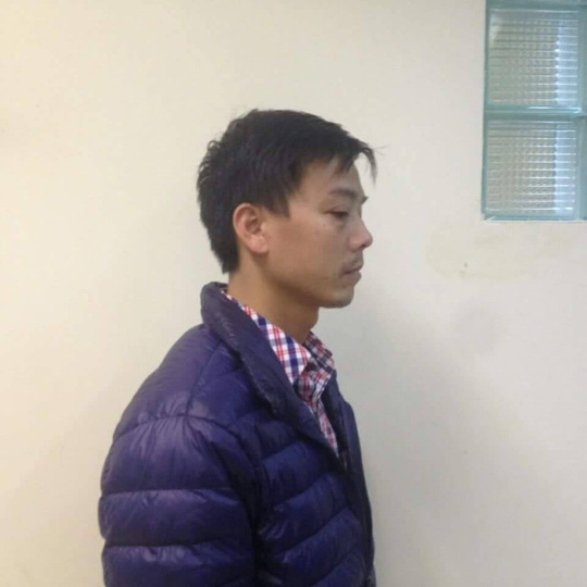 Cao Mạnh Hùng tại cơ quan điều tra - Ảnh: CTV