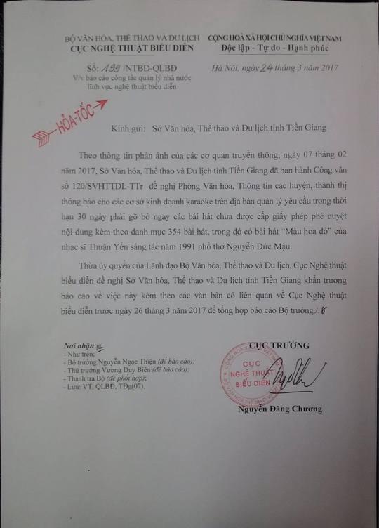 Công văn Cục Nghệ thuật biểu diễn yêu cầu Sở VH-TT-DL Tiền Giang giải trình