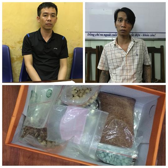 Hai đối tượng Nguyễn Văn Nam và Đoàn Trung Thành cùng tang vật