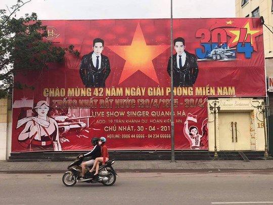 Sử dụng quốc kỳ để quảng cáo cho liveshow của Quang Hà, một quán bar ở Hà Nội bị sở Văn hoá - Thể thao Hà Nội nhắc nhở