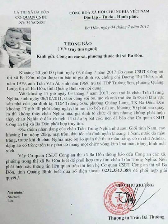Công an vào cuộc truy tìm bé trai 6 tuổi mất tích - Ảnh 1.