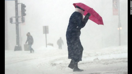 Bão tuyết tràn qua bang Maine hôm 14-3. Ảnh: AP