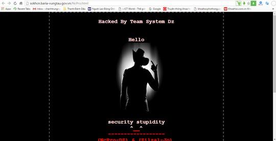 Hình ảnh hacker chèn vào website của Sở Khoa học Công nghệ Bà Rịa - Vũng Tàu. Ảnh: Chánh Trung.