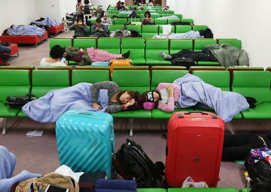Nhiều người thích qua đêm ở sân bay Kansai - TP Osaka hơn là thuê khách sạn. Ảnh: Nikkei