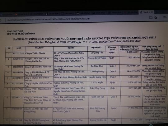 TP HCM bêu tên 209 doanh nghiệp nợ thuế, bất động sản dẫn đầu - Ảnh 1.