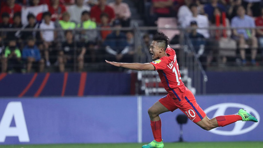 Seung-Woo Lee ăn mừng bàn mở tỉ số cho U20 Hàn Quốc