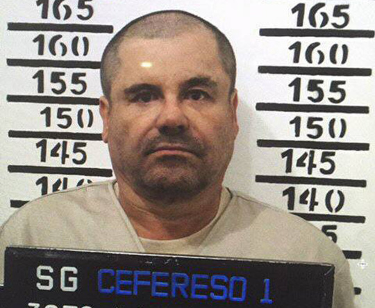 Guzman sau khi bị bắt lại vào năm 2016. Ảnh: AP