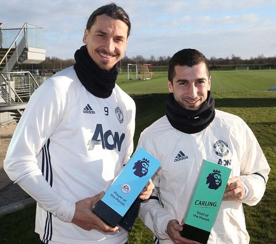 Ibrahimovic và Mkhitaryan nhận giải thưởng tháng 12