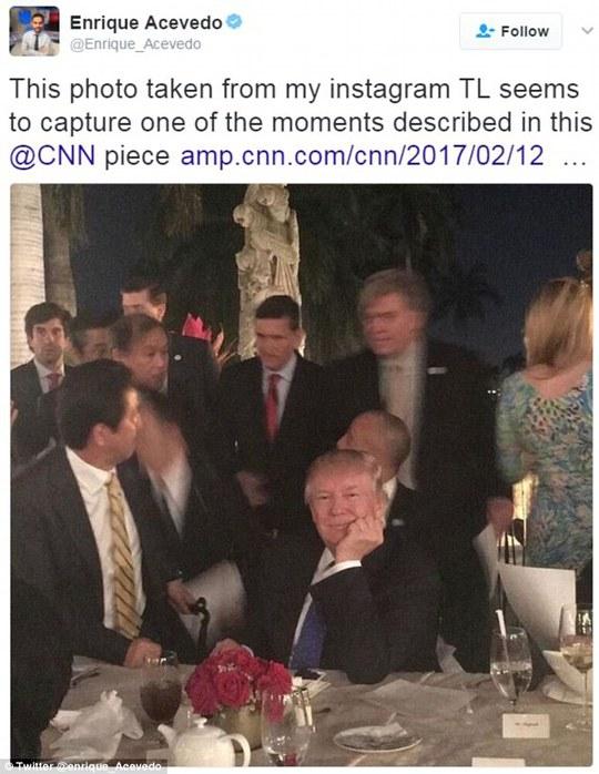 Hình ảnh của ông Trump trong bữa tiệc tại khu nghỉ dưỡng Mar-a-Lago tối 11-2. Ảnh: Twitter