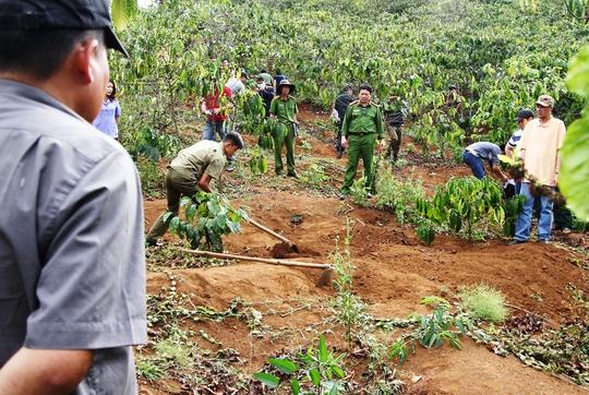Lực lượng chức năng tỉnh Lâm Đồng khai quật thi thể để điều tra làm rõ.