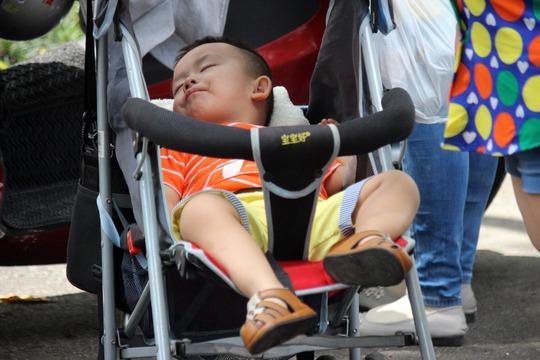Quá mệt mỏi, em bé nằm ngủ say sưa trên xe đẩy.