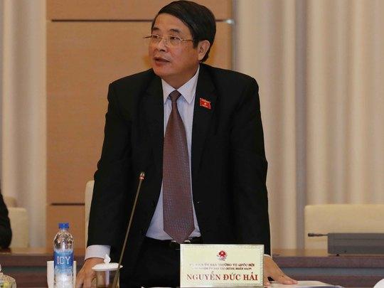 Chủ nhiệm Ủy ban Tài chính Ngân sách của QH Nguyễn Đức Hải chỉ rõ tình trạng thất thoát trong quản lý, sử dụng vốn đầu tư xây dựng cơ bản tại cuộc họp chiều 19-4 Ảnh: TTXVN