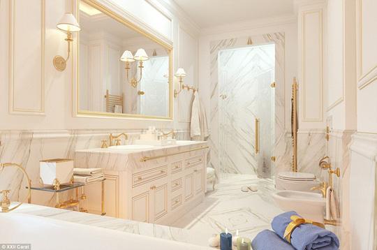 Các phòng tắm khác trong biệt thự đều được lát đá cẩm thạch.