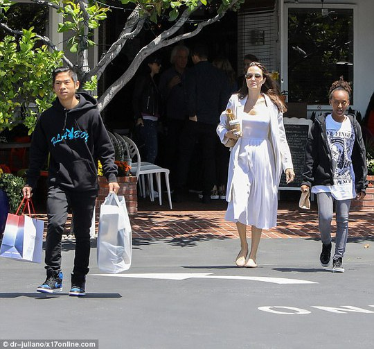 Pax Thiên tháo vát hộ tống Angelina Jolie - Ảnh 2.