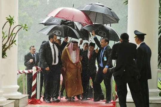 Tổng thống Indonesia cầm dù che mưa cho Quốc vương Salman. Ảnh: Reuters