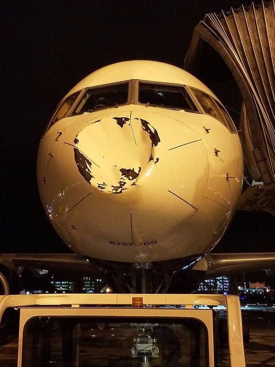 Máy bay móp mũi vì va chạm giữa không trung - Ảnh 1.