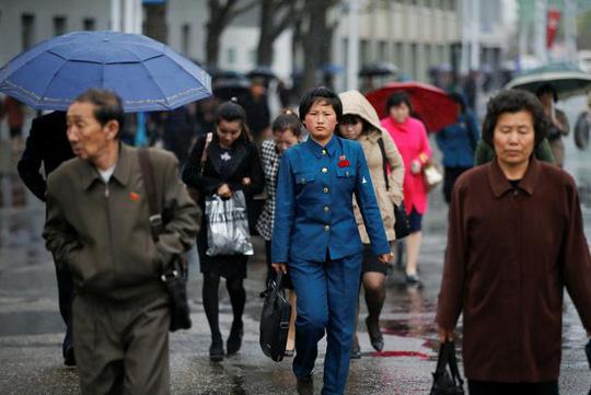 Bình Nhưỡng hứng mưa nhẹ hôm 14-4. Ảnh: REUTERS