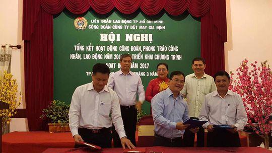 Trung tâm Tư vấn Pháp luật LĐLĐ TP HCM ký kết cùng Công đoàn Công ty CP Dệt may Gia Định