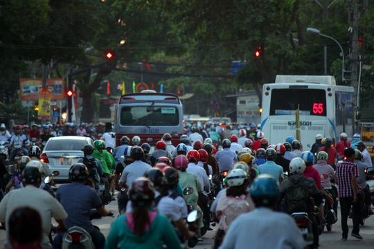 Khoảng 18 giờ, khu vực đường Hoàng Minh Giám xe cộ lưu thông đông đúc, ùn ứ. Trong đó khu vực vòng xoay Nguyễn Thái Sơn (quận Gò Vấp) và các tuyến đường xung quanh cũng kẹt xe nghiêm trọng.