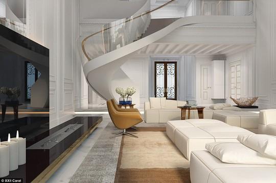Khu vực sảnh tiếp khách của biệt thự có trần nhà cao và đồ nội thất màu trắng sang trọng.
