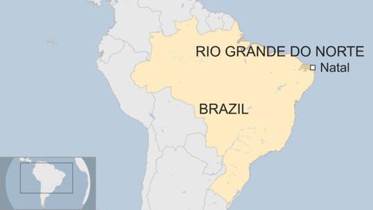 Ít nhất 10 tù nhân thiệt mạng trong vụ bạo loạn xảy ra bên trong nhà tù Alcacuz, TP Natal, bang Rio Grande Do Norte, Brazil hôm 14-1. Ảnh: BBC