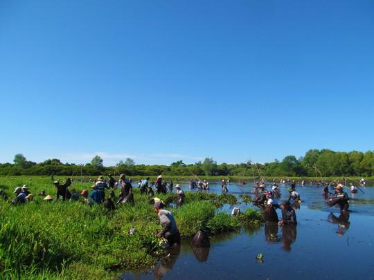 Độc đáo lễ hội phá trằm bắt cá, huyên náo cả vùng đầm nước - Ảnh 8.
