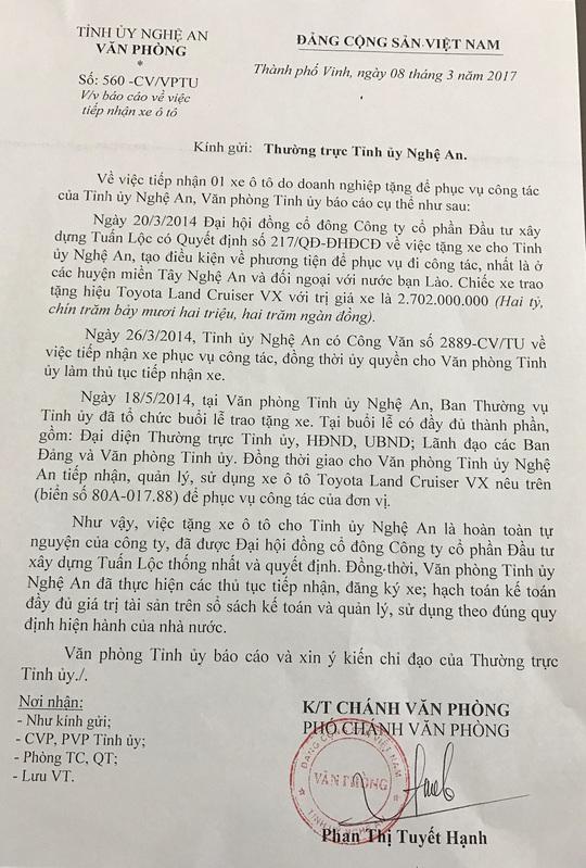 Công văn báo cáo việc nhận xe doanh nghiêp tặng của Tỉnh ủy Nghệ An.