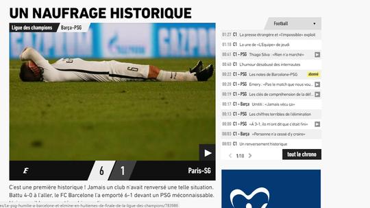 Báo EEquipe nói về trận thua của PSG