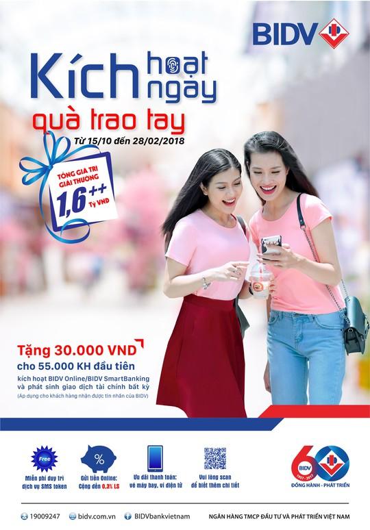 55.000 phần quà cho khách hàng dùng dịch vụ từ BIDV - Ảnh 1.