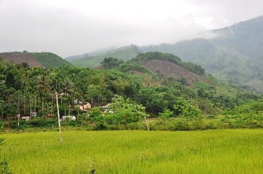 Khung cảnh bình yên ở làng Rêu, xã Ba Điền, huyện Ba Tơ (Quảng Ngãi). Ảnh: Tử Trực