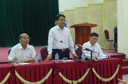 Chủ tịch UBND TP Hà Nội Nguyễn Đức Chung tại buổi gặp gỡ với đại diện chính quyền xã Đồng Tâm